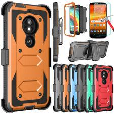 For Motorola Moto E5/Z3/Z4/G7 Play Power Plus Shockproof Hybrid Armor Case+ Clip