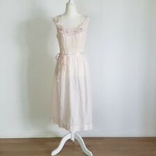 Vtg Cotton Nightgown Pink Smocked Lace Floral S/M Sleeveless Midi Modest