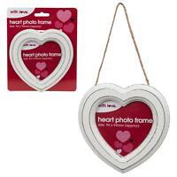 White Heart 13.5cm Photo Frame - Hanging Decoration Weddings, Valentines Day