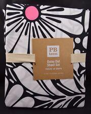 Pottery Barn Teen Daisy Dot Flower Sheet Set Black White Pink XL Twin #117