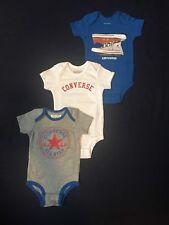 Converse Short Sleeve Creepers Bodysuit 3 Pack Set Infant Boy Sz 0/6 Mo All Star