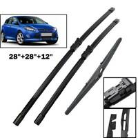3Pcs Front Rear Window Windscreen Wiper Blades Set For Ford Focus MK 3 11-18