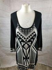Star By Julien Macdonald Black Geometric Print U Neck 3/4 Sleeve Jumper Dress 18