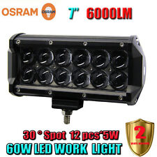 7Inch 60W OSRAM Led Light Bar Spot Work Light 4WD ATV Off-road Driving Lamp