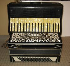 Vtg Men's 120-Bass Black Accordion with Excelsior Case w/Keys, Plays VERY WELL !