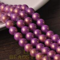 New 15pcs 10mm Round Gold Dust Glass Charms Loose Spacer Beads Fuchsia
