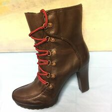A.N.A pre-owned womens brown high heel ankle boots size 9 M