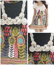 Gracia Fashion Floral Applique Linen Blend S/M Tunic Dress Short Sleeve NWOT