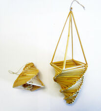 2 Handcrafted Natural Straw Christmas Ornaments From Lithuania Bell & Basket
