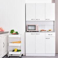 HOMCOM Kitchen Pantry Cupboard Wooden Storage Cabinet Organizer Shelf White