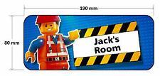 Lego Movie Door Plaque - Emmet Personalised Childrens Bedroom Sign Boys Girls