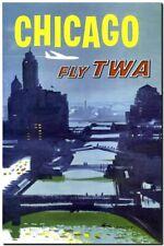 "Cool Retro Travel Poster CANVAS ART PRINT ~ Chicago Skyline TWA 24""x16"""