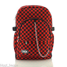 BLACK RED CHECKER BACKPACK RUCKSACK Check Goth Skate School College CHOK Bag