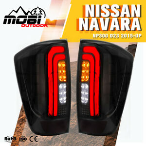 MOBI LED Tail Lights For NISSAN NAVARA NP300 D23 2015-UP Smoked Black Rear Lamp