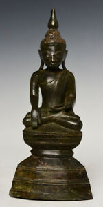 17th Century, Shan, Antique Burmese Bronze Seated Buddha