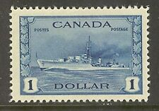 Canada #262, 1942 $1 Royal Canadian Navy Destroyer - War Issue, Unused Hinged