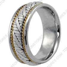 SOLID 14K YELLOW GOLD WHITE GOLD WEDDING RING TWO TONE BRAIDED WEDDING BAND