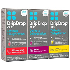 DripDrop ORS Electrolyte Hydration Powder Sticks, Lemon/Berry/Watermelon Variety