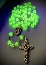 New ListingVaseline Uranium Glass Rosary w/ Gold Plated Crucifix