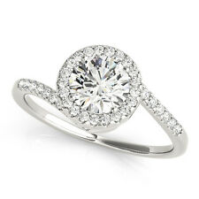 0.65 CT FOREVER ONE GHI MOISSANITE ROUND PAVE CRISS CROSS BAND ENGAGEMENT RING