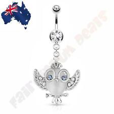 Clear CZ Gem Belly Ring Cats Eye Owl with CZ Gem Wings, Crown & Glasses Dangle
