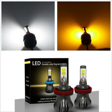 2 PC COB LED H11 H8 Bulbs White & Yellow Dual Color Fog Light Lamps Flash Strobe