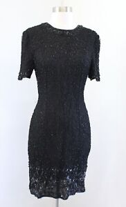Vtg Stenay Black Silk Beaded Sequin Short Sleeve Cocktail Party Dress Size 10