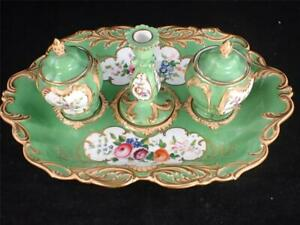 C1840 ANTIQUE ENGLISH PORCELAIN DESK STAND INKWELL PAINTED FLOWERS GREEN GROUND