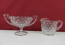 Fostoria American Footed Two Handled Trophy Compote Bowl & Pitcher