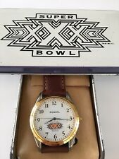 NEW Fossil Watch Mens NFL Super Bowl XXX Stainless Silver Gold Leather NIB