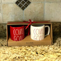 Rae Dunn By Magenta COUPLE GOALS Valentine's Day Red White Mug Boxed Set LL New