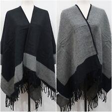 NWT Reversible Black and Gray Tassel Poncho Shawl Ruana Women One Size