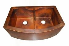 Rounded Apron Front Farmhouse Kitchen Double Bowl Mexican Copper Sink 50/50 # 06