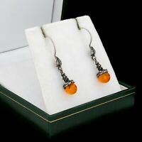 Antique Vintage Deco 925 Sterling Silver Baltic Amber Floral Dangle Earrings 3g
