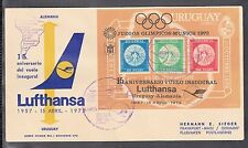 A 24 ) beautiful FFC 15th anniversary of Lufthansa Germany - Uruguay, Olympia