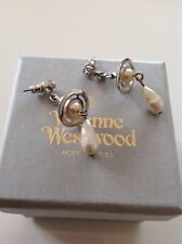 Stunning Vivienne Westwood Diamanté And Pearl Orb Drop Earrings new with box