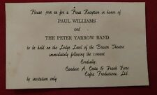 Invitation to Paul Williams and the Peter Yarrow Band Concert Invitation Only