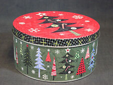 """New Holiday Inspirations 3"""" Tall by 6.25"""" Diameter Tree Motif Tin Container"""