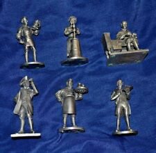 6 Fine Pewter Franklin Mint 1970s Vintage Colonial Figurines