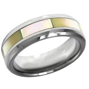 Mother of Pearl Tungsten 7mm Ring Size 9 Eternity Band Yellow MOP Shell Inlay