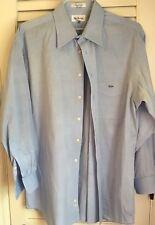 MEN'S PAUL FREDRICK 17 1/2 x 34 PINPOINT OXFORD SOLID BLUE TRIM FIT DRESS SHIRT