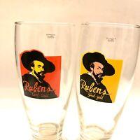 Vintage Rubens - Set Of 2 ( Letter On Front ) Beer Glass 25cl Made In Brazil