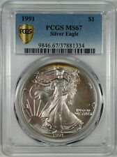 1991 Silver Eagle Coin PCGS MS67  **Colorful Toning**