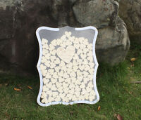 Free 60 Hearts Personalized Engraved Drop Top acrylic Wedding Guest Book Frame