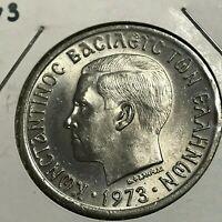 1973 GREECE 5 DRACHMAI BRILLIANT UNCIRCULATED COPPER NICKEL COIN