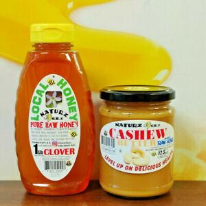 RAW HONEY CLOVER 1lb / 454g + FREE Cashew Butter & Honey 100% PURE RAW