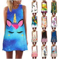 Womens Tank Top Mini Dress Unicorn 3d Print Summer Casual Prom Party Tunic Dress