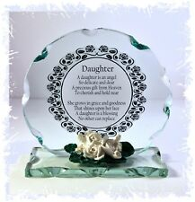 Cellini Girl Daughter Poem Cut Glass Plaque Special Birthday Keepsake #1