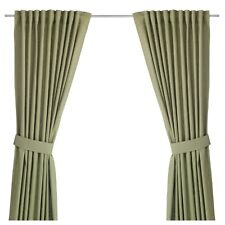 "Ikea Ingert Curtains, 57x118"" Green Window Drapes Cotton Linen Fabric pair"