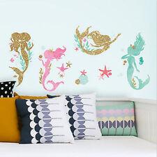 LITTLE MERMAID SLEEPS HERE glitter wall stickers 21 decals Nursery Bedroom decor